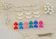 24 x GUARDIAN ANGEL CHARM MAKING KIT bright silver wings beads rhinestones pins
