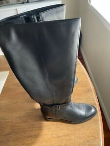 Simply Be Leather Black knee high boots size 8