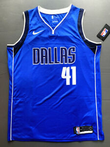 Klassisch Dirk Nowitzki #41 Dallas Mavericks Basketball Trikot Genäht Blau