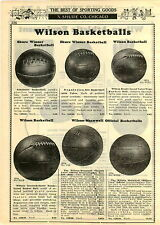 1929 PAPER AD Wilson Meanwell Laced Leather Basketballs Hidden Lace