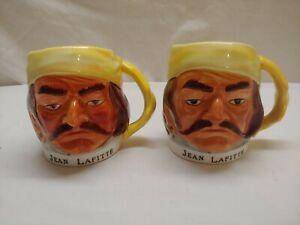 Set of 2 Vintage Jean Lafitte Pirate Ceramic Mug 1960s