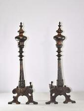 Antique Pair Victorian Brass And Iron Andirons Copper And Black Patina