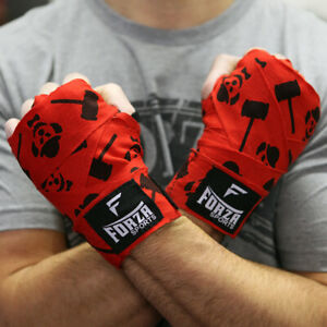 """Forza Sports 180"""" Mexican Style Boxing and MMA Handwraps - Clown Red"""