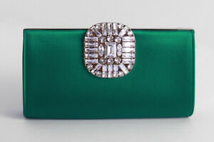 JIMMY CHOO 'Leonis' emerald satin clutch bag with crystal detail