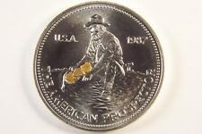 SILVER AMERICAN GOLD PROSPECTOR COIN with 3 GOLD NUGGETS-gold miner-silver round