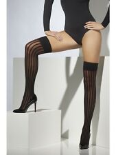 Sexy Naughty Thigh High Black Striped Hold Ups Stockings One Size 40 Denier
