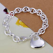 """925Sterling Silver Jewelry Fat Heart In Heart Women Bracelet Chain 8"""" HY273"""
