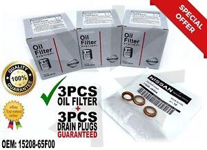 3 PCS NEW Genuine Nissan Oil Filter + Drain Plug 15208-65F00 65F0E 65F0C 🔥🔥🔥.