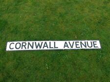 Vintage Pressed Road / Street Name Sign CORNWALL AVENUE Rare Barn Find