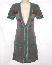 American Retro Cardigan Sweater Grey Short Sleeve Wool Long Size 1 NWT $149