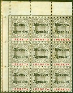 Morocco Agencies 1905 1p Black & Carmine SG29 Ave MNH Block of 9