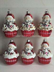 Set/6 Darcie Red White Santa Cupcake Ornament HoHoHo Candy Cane Christmas Tree