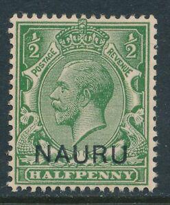 1916-1923 NAURU KGV ½d YELLOW GREEN FINE MINT MNH SG1