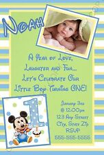 Mickey Mouse First 1st Birthday Invitations Green 8 pk Personalized
