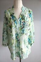Erfo leichte Bluse Gr.44 grün-weiß gemustert