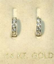 New 14K White Gold Baby Huggy Earrings w/Dia