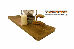 Rustic Wooden Floating Shelves Chunky Solid Pine Reclaimed Shelf With Brackets