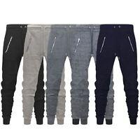 New Mens Skinny Slim Fit Joggers Jogging Bottom Fleece Gym Pants Zip Pockets