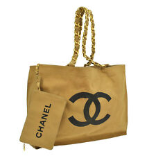 Auth CHANEL Jumbo CC Logos Chain Shoulder Tote Bag Canvas Beige Vintage NR06412