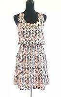 Pixley Women's Pink Black Abstract Chevron Sleeveless Dress Size Small