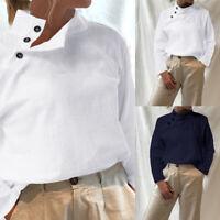 Women Front Button Cotton Ladies Long Sleeve Casual T Shirt Blouse Top Size 8-26