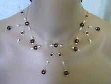 Collier Ivoire/Chocolat robe de Mariée/Mariage/Soirée/Céeémonie perles pas cher