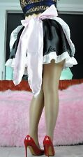 Sissy french Maid Cosplay Satin Silky shiny skirt slip outfit apron costume set