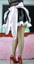 Sissy french Maid Cosplay Taffeta shiny skirt slip outfit apron costume set