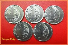 INDIA 1 rupee 2015 steel issue set of 5 unc off center error coins