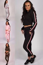Women's 2 PCS Tracksuits Set Ladies Striped Cropped Hooded Lounge wear Size 8-14