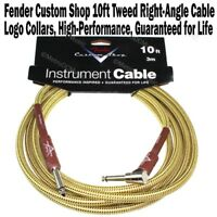 FENDER Custom Shop 10 ft Tweed Right Angle Instrument Guitar Cable Cord 1/4 NEW
