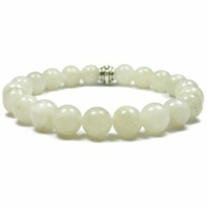 Moonstone 8mm Round Crystal Bead Bracelet with Description Card