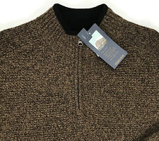 Men's PENDLETON Gold Brown Washable Wool Half Zip Sweater Large L NWT NEW $119+