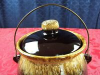 U.S.A. POTTERY GLAZED BROWN STONEWARE BEAN POT WITH LID PICKLING POT