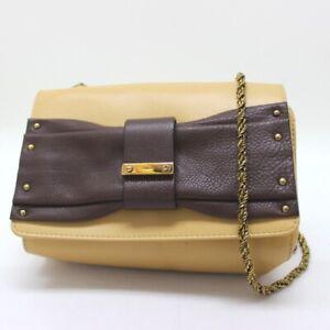 Chloe Pochette ribbon ChainShoulder Bag Shoulder Bag Beige/Brown Leather