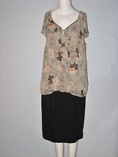 CLEO Size L Beige Floral Fully Lined Cap Sleeve Blouse