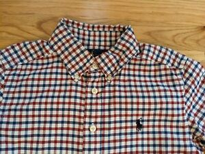 Ralph Lauren Shirt Boys Size 8 Blue/Red/Whit Check Plaid Dress Shirt Button Down