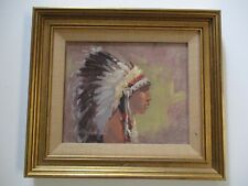MEL FILLERUP OIL PAINTING NATIVE AMERICAN YOUNG CHIEF HEADDRESS INDIAN LISTED