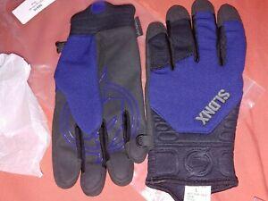 Slednecks Snowmobile Gear SLDNX~Men's L Spring Black & Blue Gloves ~RARE Sample