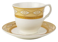 Gold vintage pattern ceramic 12 coffee cup and saucer espresso Turkish Arabic