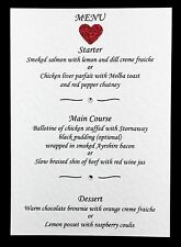 10 Wedding Menu Cards with Diamantes & Coloured Heart