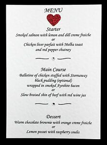 10 Wedding Menu Cards with Glitter Heart and Diamantés