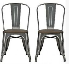 Metal Dining Chairs Wood Seats Bistro Set 2 Antique Gunmetal Color Steel Frame