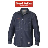Mens Hard Yakka 3056 Denim Shirt Y07333 Long Sleeve Work Smart Casual Job Site