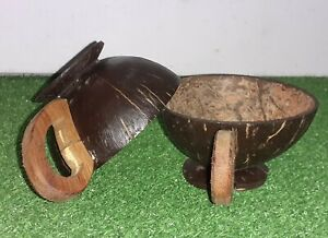Coconut Shell Desert Ice Cream Cup Soup Bowl Set Handmade Party Cups – 2 Nos