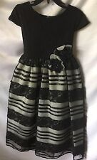 Isobella and Chloe Girls Black And Gray Lace Long Formal Party Dress Sz 6-New