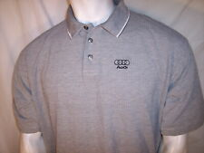 Port Authority Large/XL Gray/White Micro Dots Cotton Polo Shirt Audi Chest Logo
