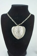 "Superb Vintage Heavy Silver Chain Necklace Huge Silver Pendant 28"" [Y8-W6-A8]"