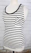 ZARA Tank Top Basic Striped Sleeveless Knit Women's Medium Black White Linen