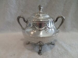 Magnificent 19th c French 950 silver footed sugar bowl Odiot Louis XVI